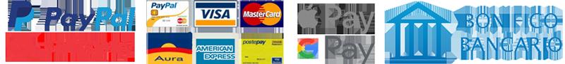 Metodo di pagamento Paypal, Carta di credito o Bonifico Bancario