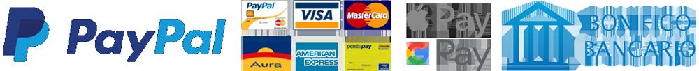 Pagamento tramite Paypal, Carta di credito o Bonifico Bancario